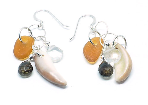 Shell & Amber Sea Glass with Some-Precious Stone Earrings