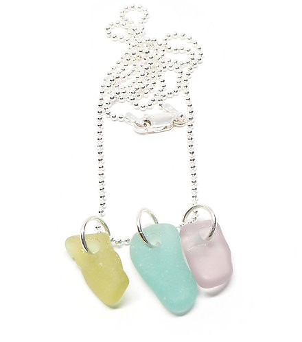 Lilac Aqua and Yellow Necklace