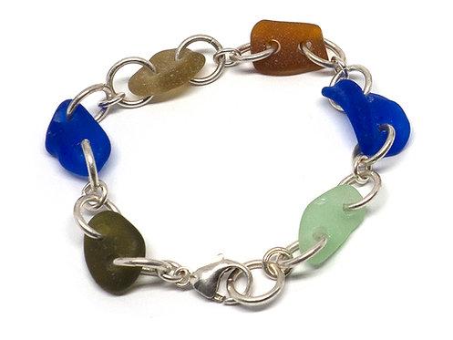 Multi Colored Bracelet with Cobalt, Amber, Sea foam and Khaki Seaglass