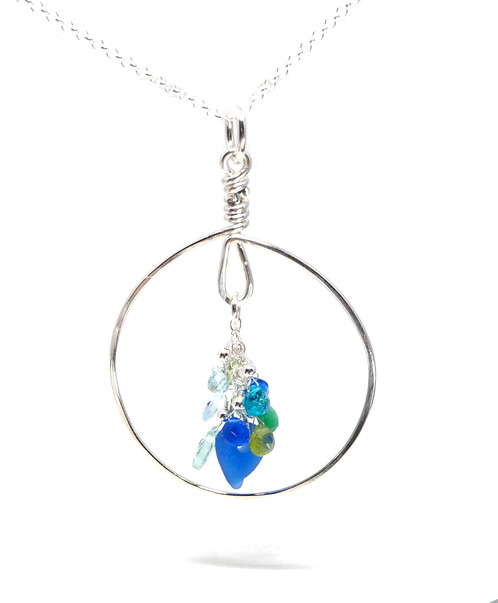 Beach glass semi precious circle necklace homesea glass jewelry beach glass semi precious circle necklace mozeypictures Image collections