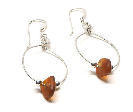 Small Hoop Earrings Brown