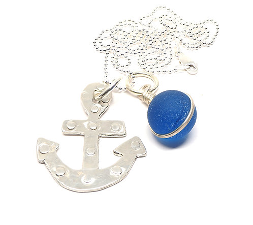 Sterling Riveted Anchor and Cobalt Marble