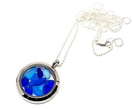 Mixed Blues Locket Necklace