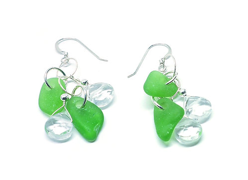 Green Glass and Rock Crystal Earrings