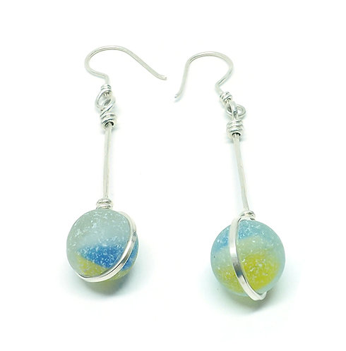 Yellow and Blue Marble Earrings