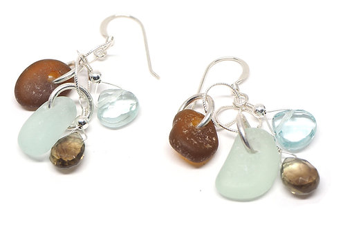 Sea foam & amber with semi precious earrings