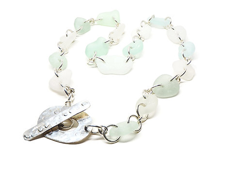 Sea Foam and White Link Sea Glass Necklace