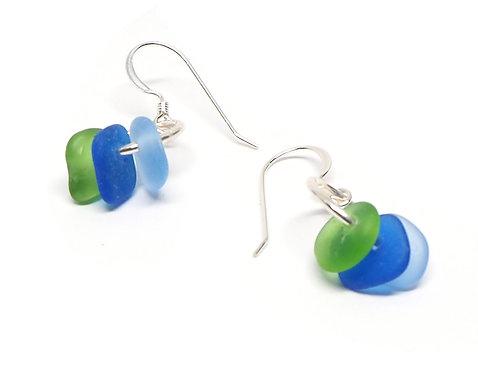 Green Cobalt and Cornflower Earrings