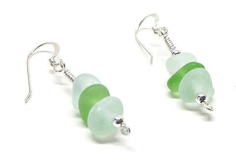 Sea Foam and Green Beach Glass Stacked Earrings