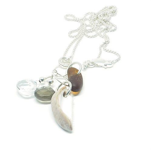 Shell, Brown  Sea Glass and Semi Precious Stone Necklace