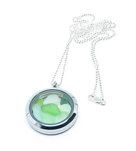 Mixed Green and Opalescent Glass Locket Necklace