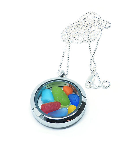 Mixed Colors with Rare Red, Yellow and Orange Locket Necklace
