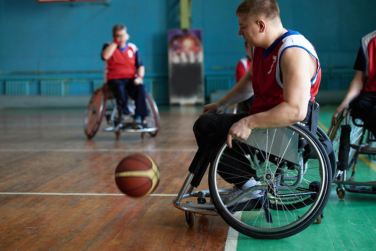 Disabled Athletes Playing Basketball