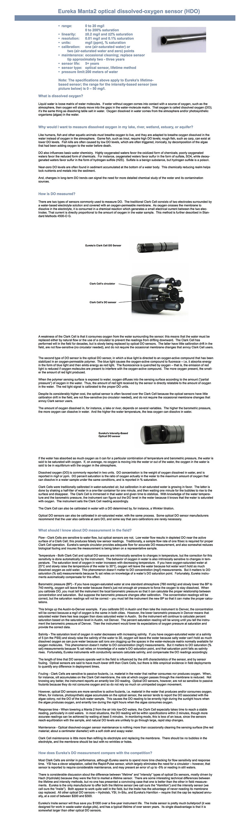 Optical dissolved oxygen sensor  information and specifications