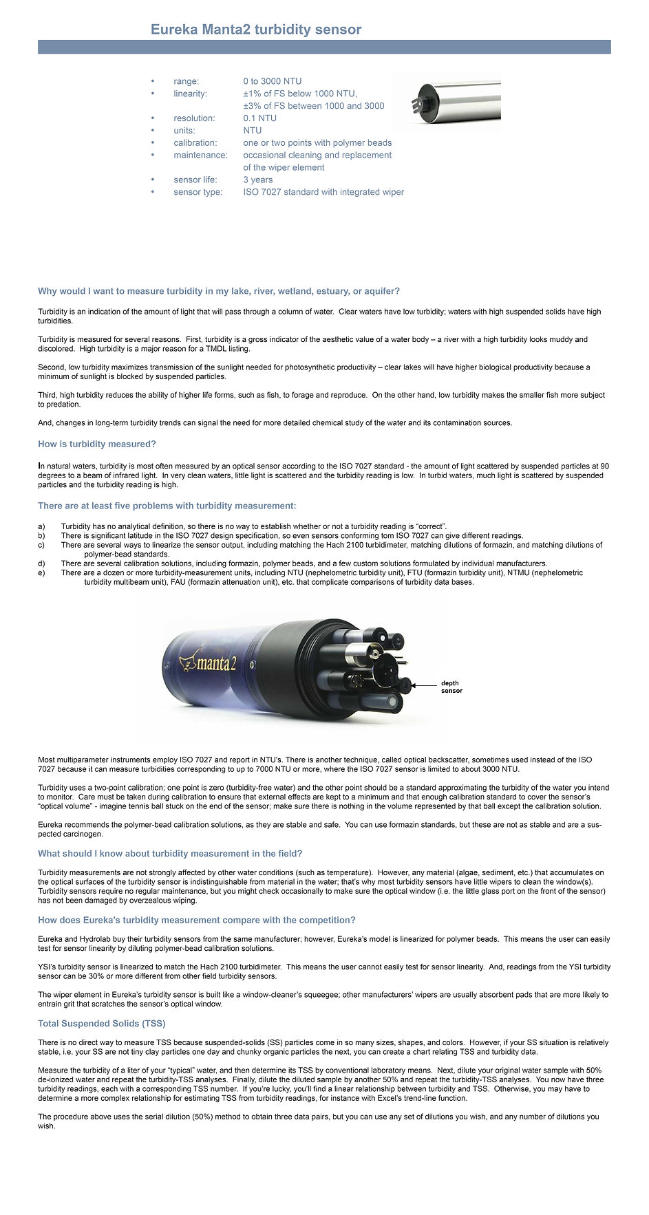 Turbidity Sensor information and specifications