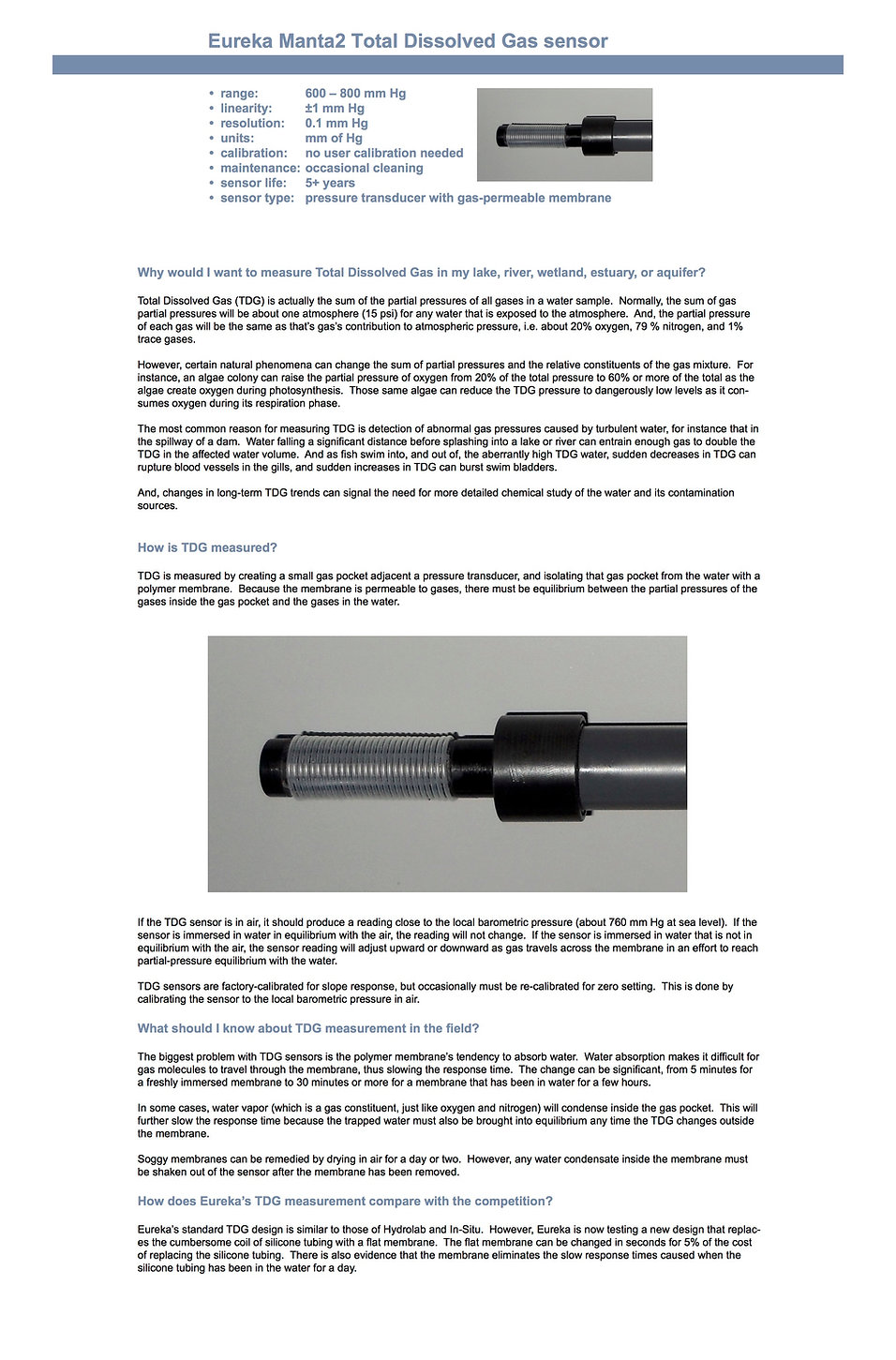 Total Dissolved Gas sensor information and specifications