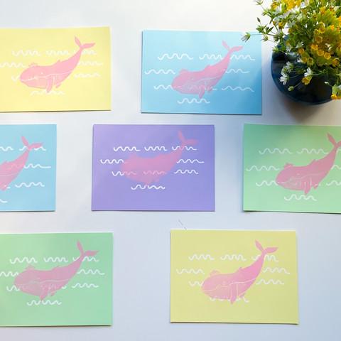 Linogravure rose et pastel