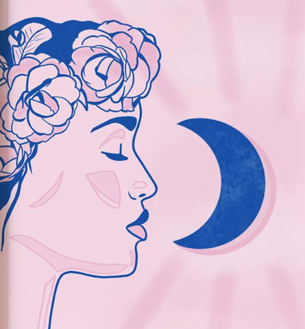 illustration femme et lune
