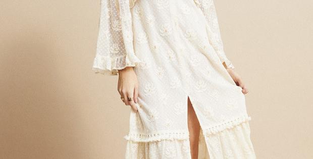 Robe longue dentelle crème