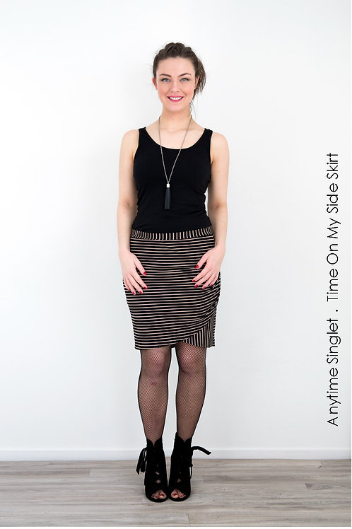 Time On My Side Skirt - Black / Camel Stripe - Size 10