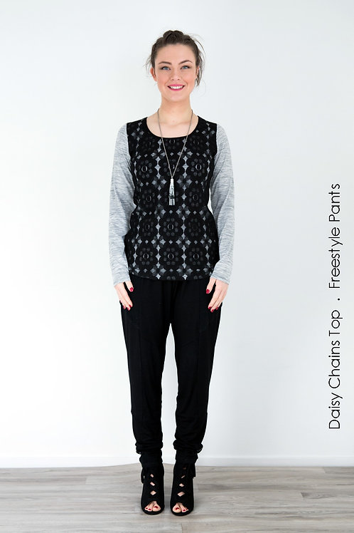 Daisy Chains Top - Ash Grey / Black - Size S
