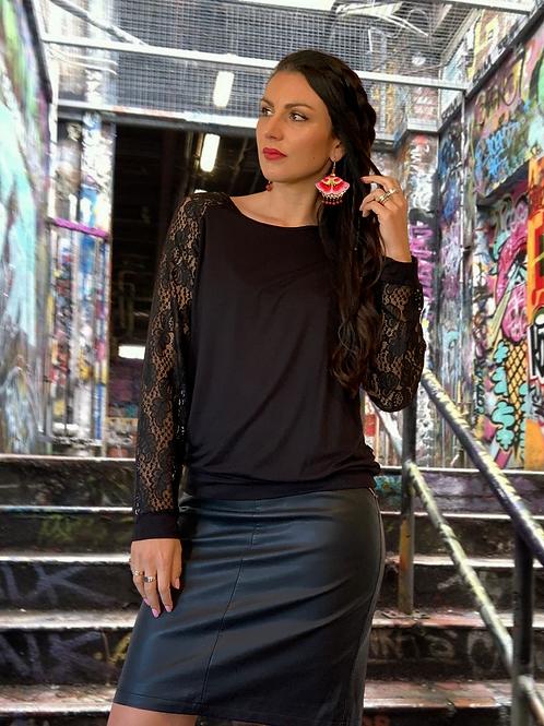 (W/S) Loaded Top - Black / Black Lace