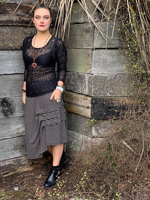 Fall In Line Skirt - Black Stripe