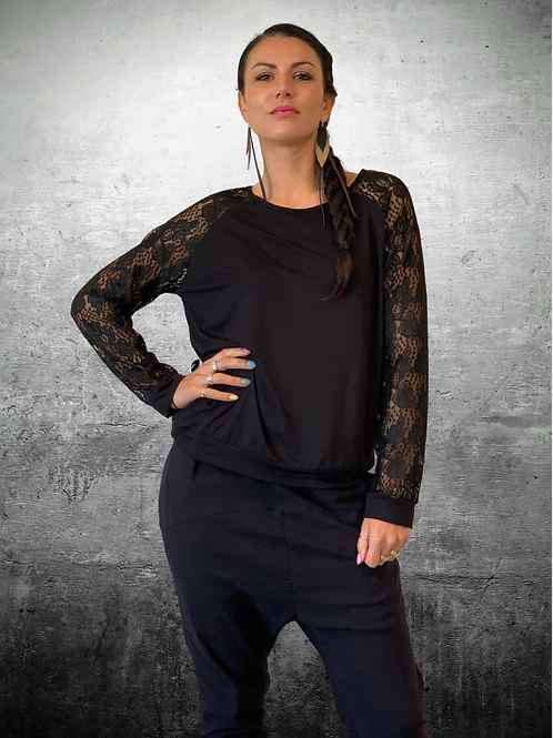 Loaded Top - Black / Lace - Size S