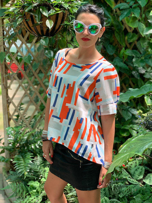 (WS) About A Girl Top - Orange / Blue