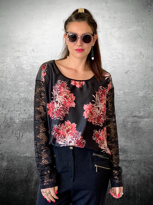 Paradise City Top - Black Floral - Size XS
