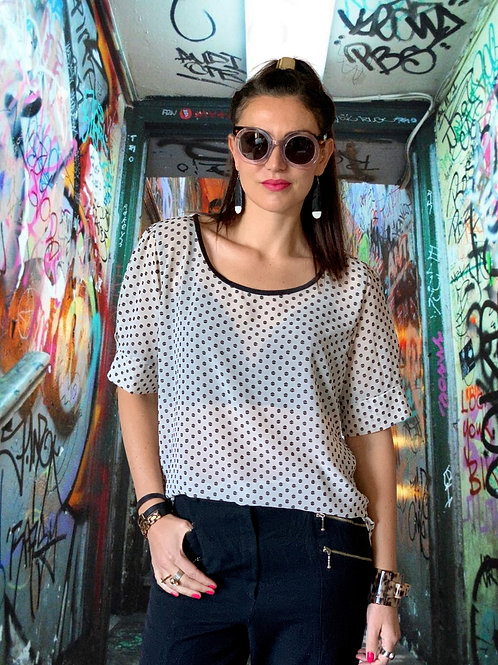 About A Girl Top - Vintage / Black Dot