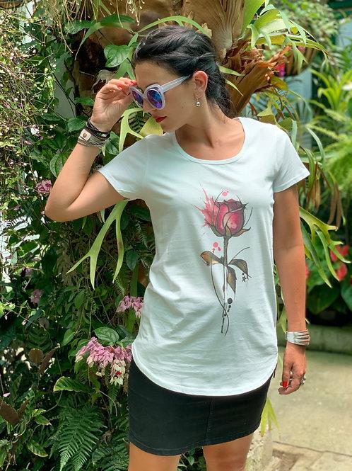 Wild Rose Tee - White
