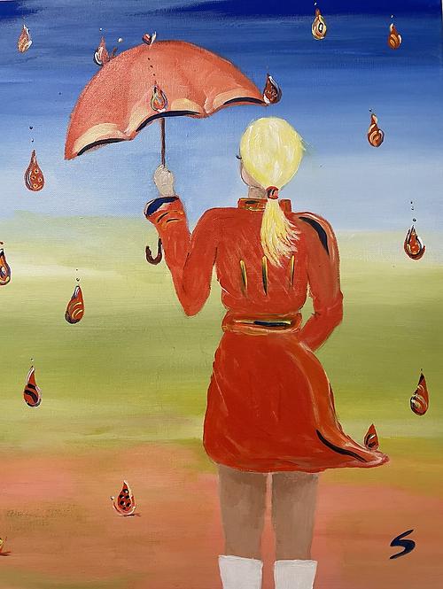 Orange umbrella girl