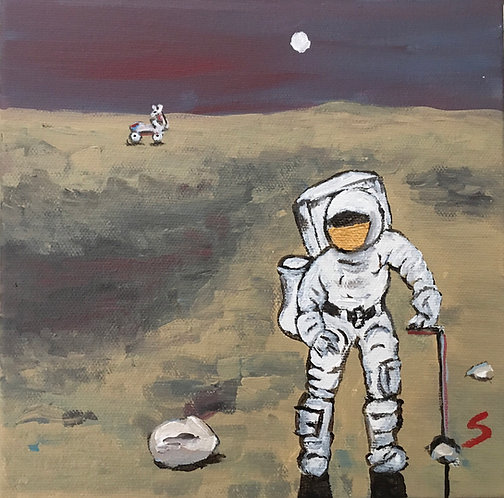 Collecting moon rocks by the moon light