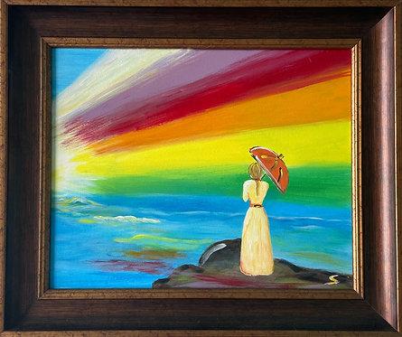 Rainbow and girl