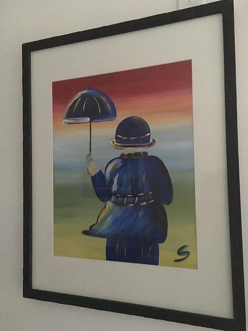 Blue Umbrella Man 2