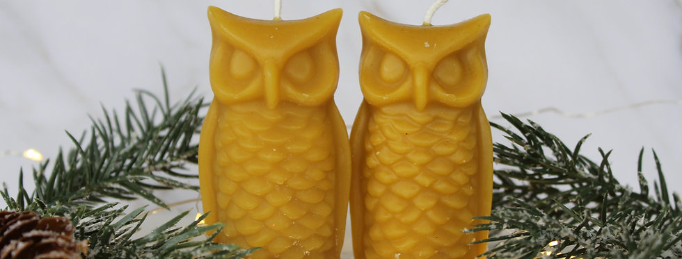 Beeswax Owl Candle Duo