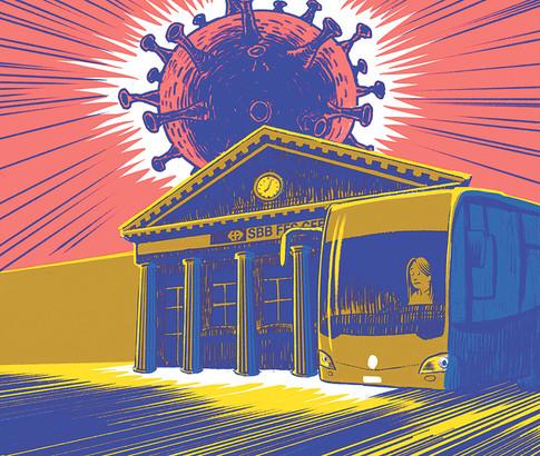 Illustration für die SEV-Zeitung (öffentlicher Verkehr unter dem Corona-Virus)