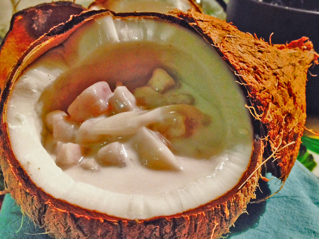 Taro infused in warm coconut milk