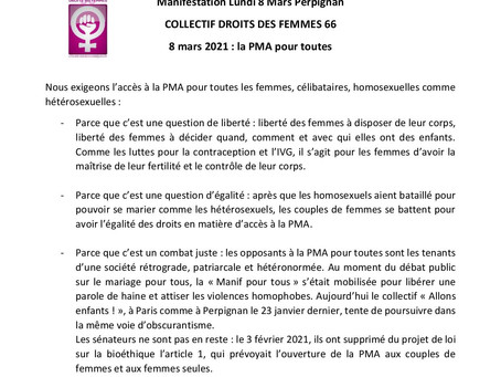 MANIFESTATION DU 8 MARS  AVEC LE CDDF 66 -JOURNEE DES DROITS DES FEMMES
