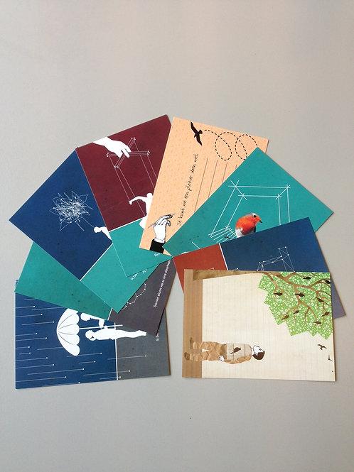 Set van 8 postkaarten