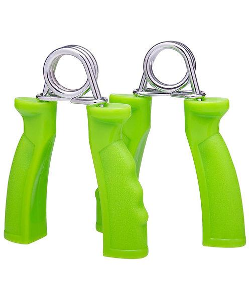 Эспандер кистевой пружинный ES-301, жесткая ручка, зеленый