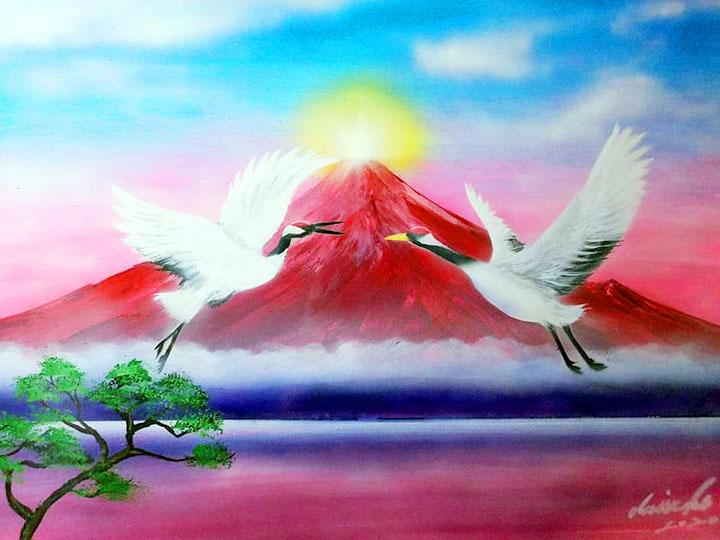 【赤富士と夫婦鶴】