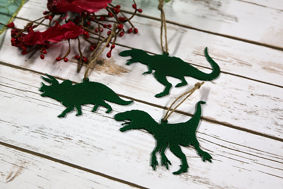 Dinosaur Silhouette Metal Ornaments Set of 3
