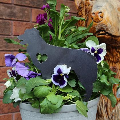 Metal Australian Shepherd Sign for Flower Pot