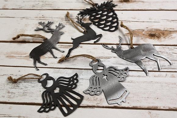 Set of 6 Metal Christmas Ornaments