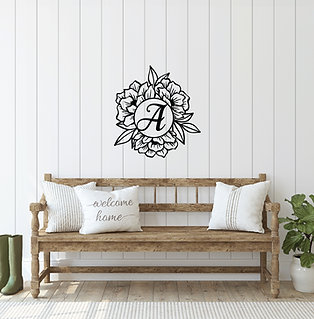 "24"" Floral Circle Monogram"