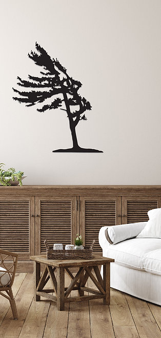 Wind Swept Metal Pine Tree