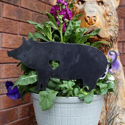 Metal Pig Sign for Flower Pot