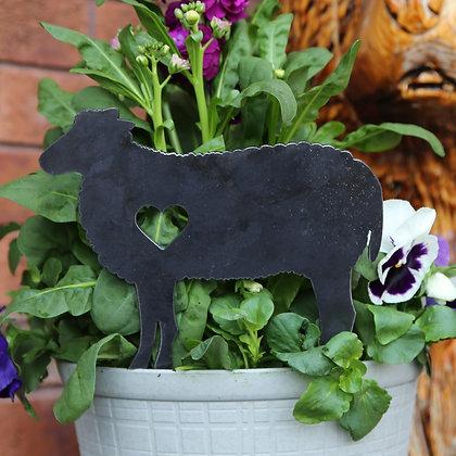 Metal Sheep Sign for Flower Pot